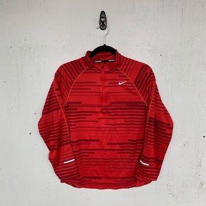 Nike Dri Fit Red Striped Half Zip Pullover Sweater